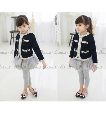B2W2 Navy Blazer set Grey Tutu Legging
