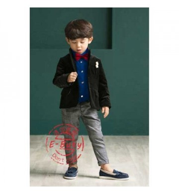 E-Buty Blue Top set Grey Pant set Tie