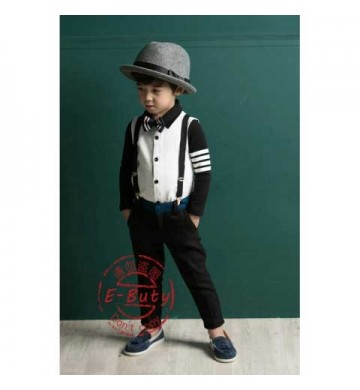 E-Buty White Top set Black Pant set Tie