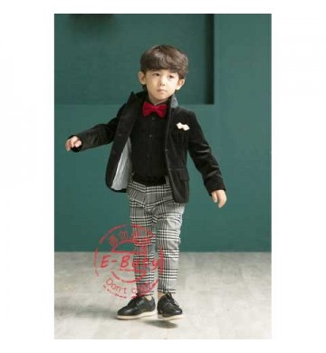 E-Buty Black Top set Grey Suqare Pant set Tie