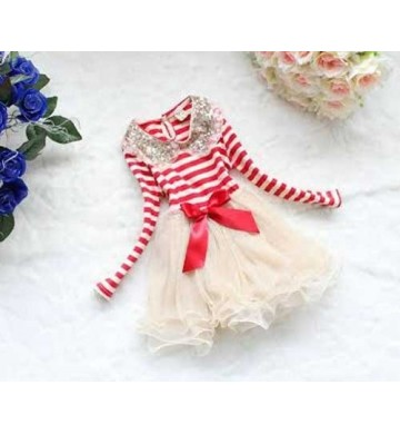 B2W2 Red Stripe Ivory Dress
