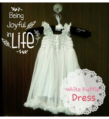 White Ruffle Dress set Neclace