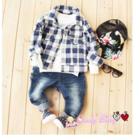 CandyBaby Kemeja Blue Square set Jeans