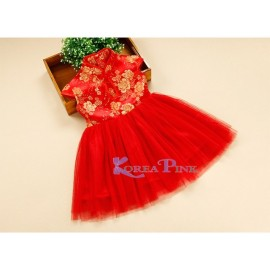 Tutu Red Gold Dress Koreapink