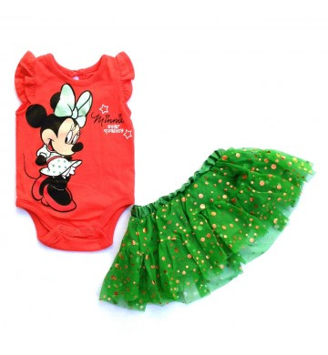 Stelan Disney Jumper Minnie Red Green Skirt
