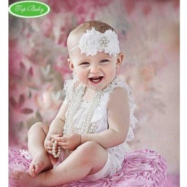 Romper Royal Lace Posh Petti Ruffle White