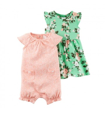 Romper Polka Set Flower Dress 2 in 1