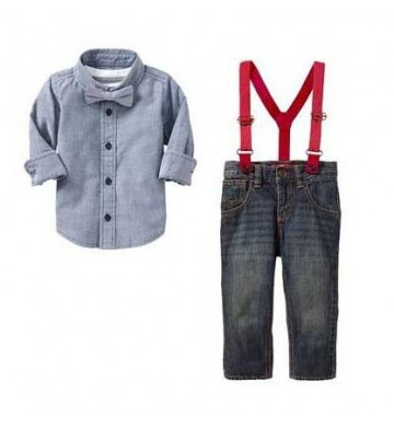 Stelan GAP Kemeja Blue Suspender Set Jeans 4in1