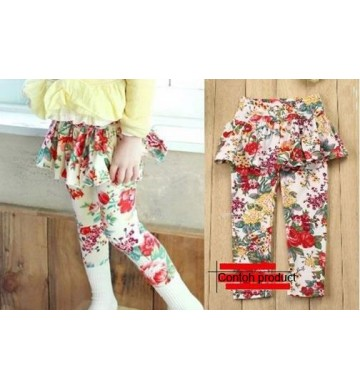 Skirt Legging Flower White